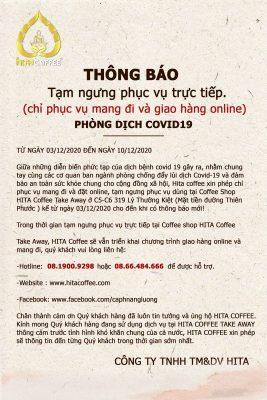 THÔNG BÁO TẠM ngưng phục vụ trực tiếp tại HITA Coffee Take Away 2