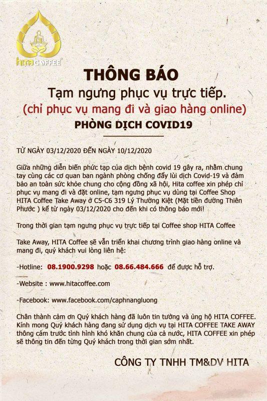 THÔNG BÁO TẠM ngưng phục vụ trực tiếp tại HITA Coffee Take Away 8