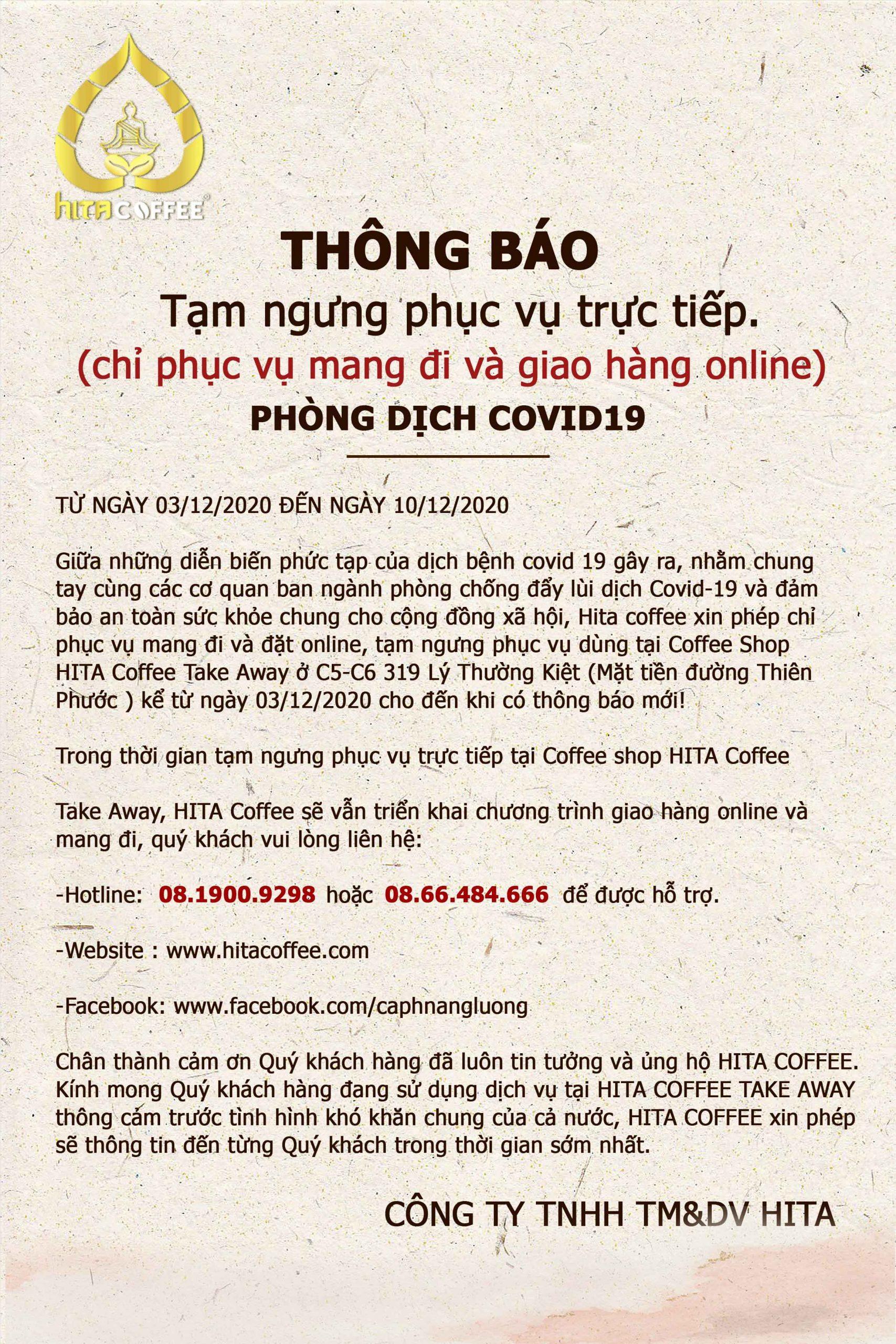THÔNG BÁO TẠM ngưng phục vụ trực tiếp tại HITA Coffee Take Away 1